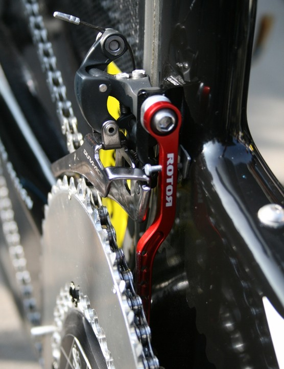 It's the little things that count, and David Millar's rig carries Rotor's popular anodised red chain catcher