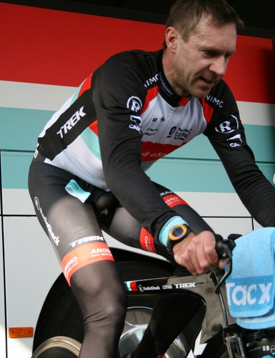 Jens Voigt feeling the burn as he warms up ahead of his TT