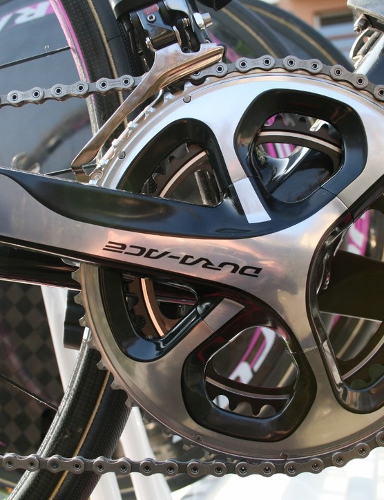 By no means ubiquitous yet, but Shimano Dura-Ace 11-speed with black accenting was on display on some of Lampre-Merida's road bikes