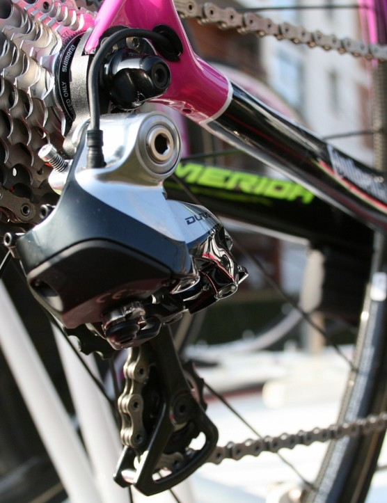 More black accenting on the rear derailleur cage and arm of Shimano Dura-Ace 11-speed