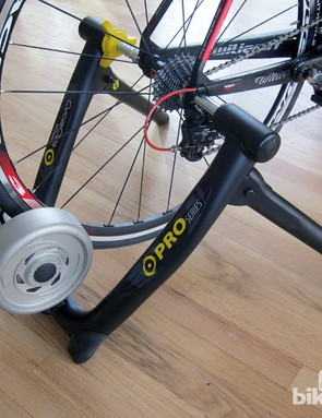 The VirtualTraining system is intended to go with CycleOps' PowerBeam Pro trainer, which uses electromagnetically controlled resistance instead of fluid or fans