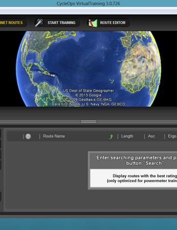 The VirtualTraining system uses Google Earth to help select and build routes