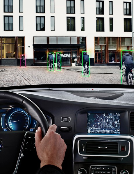 Volvo's simulation of how the system can view and detect objects