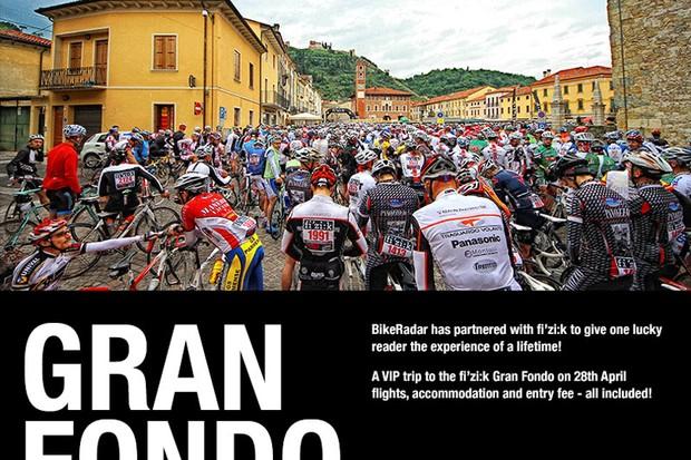 Who won the chance to ride in the fi'zi:k Granfondo?