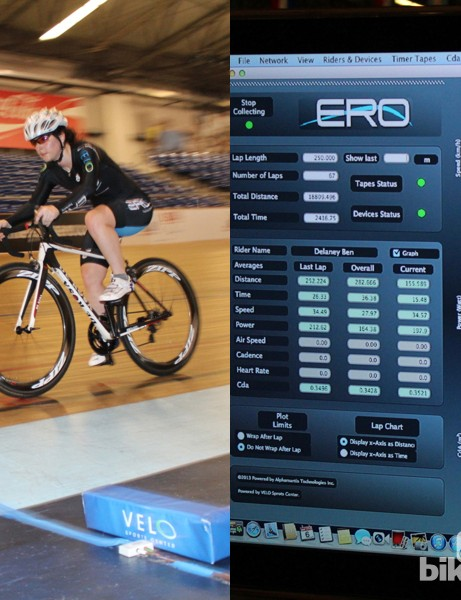 Alphamantis Technologies' Aero Track System provides real-time drag numbers, using power and speed data from a rider on an indoor velodrome