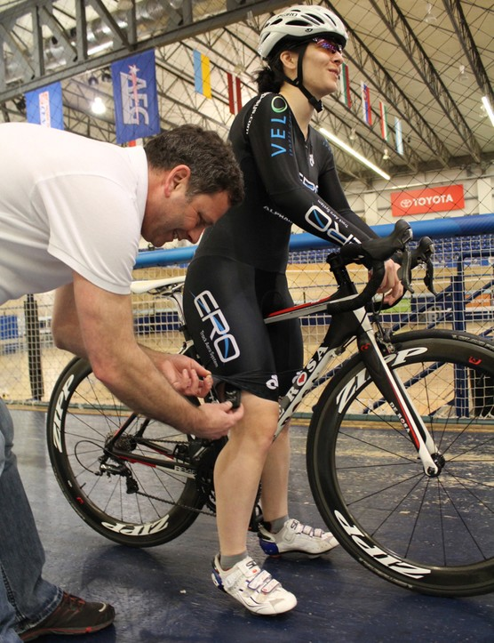 Froncioni puts the ANT+ repeater inside the skinsuit of a test rider