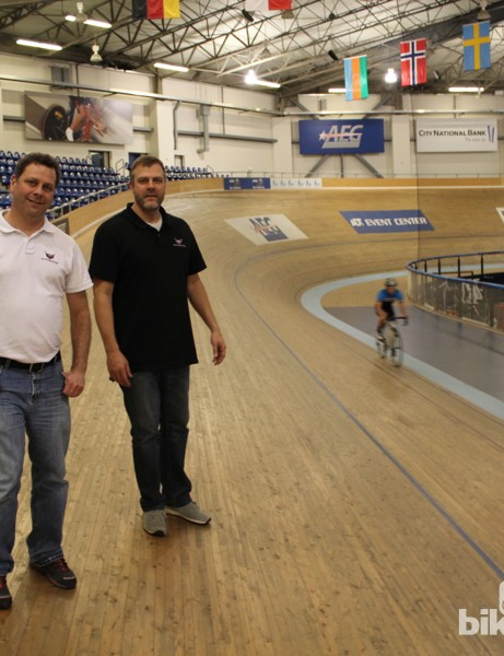 Francioni and Alphamantis president Alan Clack at the VELO Sports Center