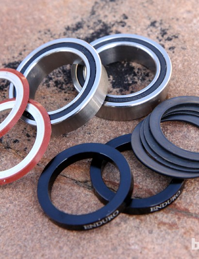 The complete Enduro BB86/92-to-BB386 EVO bottom bracket includes the bearings, spacers, and seals