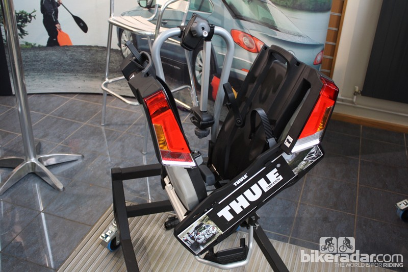 The Thule EasyFold towbar rack in its part-folded state...