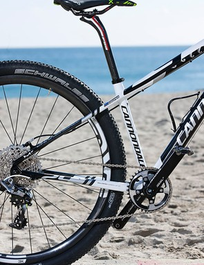 Cooper's F29 has a Lefty XLR Hybrid fork with 70mm of travel and a remote RockShox lockout