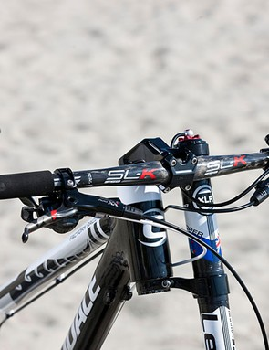 Anton Cooper's bike with special stem (negative 20-degree rise), holding FSA SL-K bars with 9 degrees of backsweep and 4 degrees of upsweep