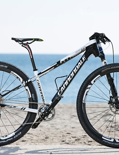 Anton Cooper's Cannondale F29 hardtail for World Cup and other cross-country racing. It has a special paint job celebrating his recent win at the New Zealand national championships