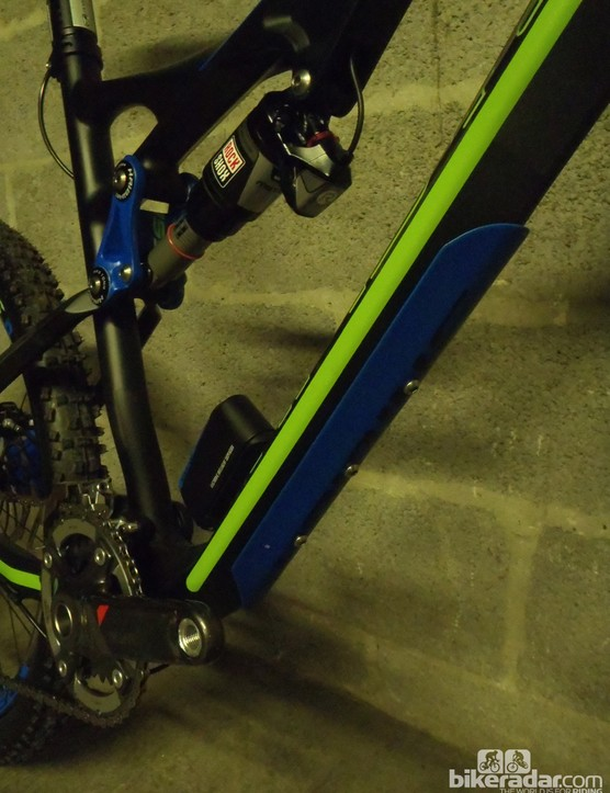 Haibike have protected the carbon down tube on the Heet RX with their Carbon Protection Shield