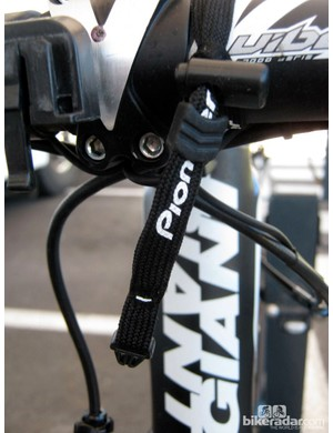 Blanco team bikes are outfitted with this extra lanyard on the computer head for security