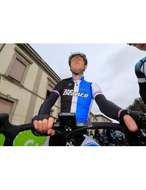 Lars Boom (Blanco) at the start of Tirreno-Adriatico with his new Pioneer SGX-CA900 power meter computer head