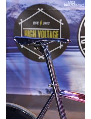 Hidden beneath the chrome paint on this Festka track bike is a 3T Palladio seatpost and Selle Italia saddle. Wow