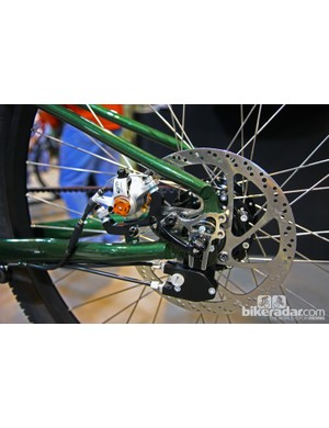 The polished stainless steel rear dropout features a tidy disc mount and dedicated geometry for a Rohloff rear hub