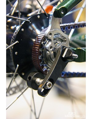 The Rohloff Snubber isn't designed to tension the Gates Carbon Drive belt. Instead, it acts as a guard to keep it from skipping under load. In normal operation, the roller doesn't even contact the belt