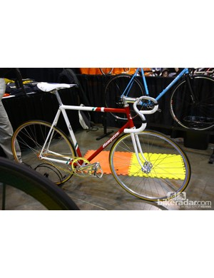 What once was old is new again. Beautiful throwback 7-Eleven colors on this Hampsten track bike