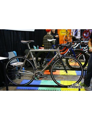 Hampsten had this very clean-looking titanium road racer on display at NAHBS