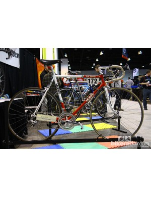 Andy Hampsten's 1988 Giro d'Italia-winning bike was on hand at the Hampsten booth. Despite the labeling, though, this one was built by John Slawta at Land Shark