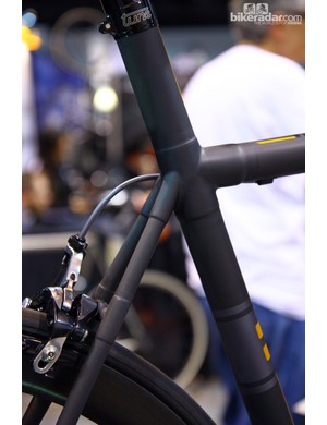 The neatly wrapped joints on Kelson Bikes' custom carbon frame