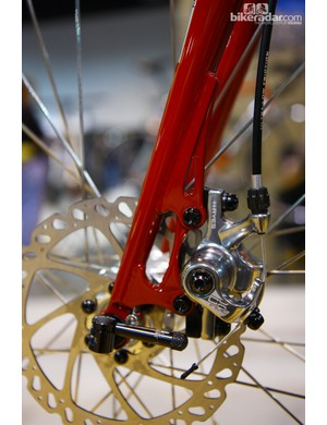 The disc tabs on the Independent Fabrication Gravel Royale steel fork are carefully sculpted