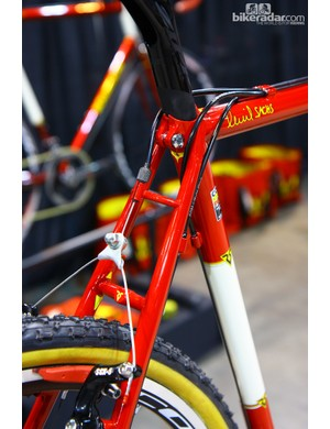 The rear brake housing stop is elegantly built into the top of the seat stays