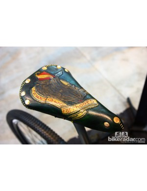 This custom saddle started out life as a standard Brooks model