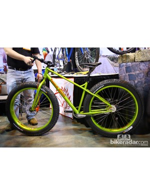 This lime green fat bike was impossible to miss