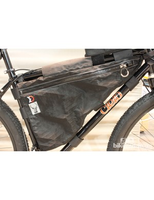 The bike on display was equipped with a full complement of Revelate designs frame bags