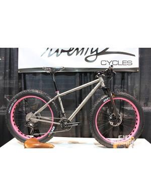 Twenty2 Cycles custom Ti fat bike with powder-coated pink rims