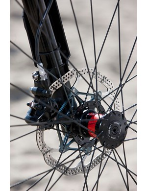 DT 240s hubs are on the front and rear, with a Lefty-specific hub up front