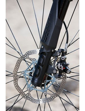 The lower leg of the Lefty XLR Hybrid fork and front rotor