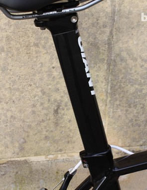 The aero seatpost is secured with a double bolted clamp