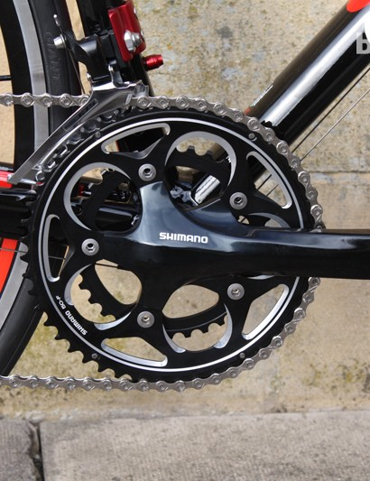 A Shimano R561 chainset with 105 front mech