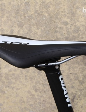 Giant's saddle sits on top of an aero seatpost