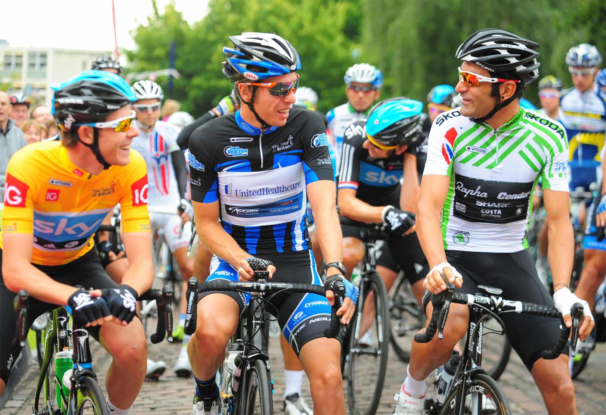 Boy Van Poppel (centre) took last year's points jersey at the Tour of Britain