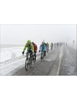 Racers had to endure snowy conditions in this year's Milan-San Remo