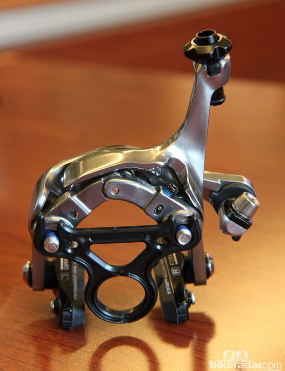 Forged aluminum construction and a grey anodized finish give Tektro's new direct-mount road brake a sleek appearance.
