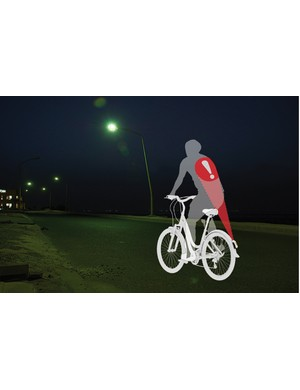 Novel lighting system uses rider's back to increase light area