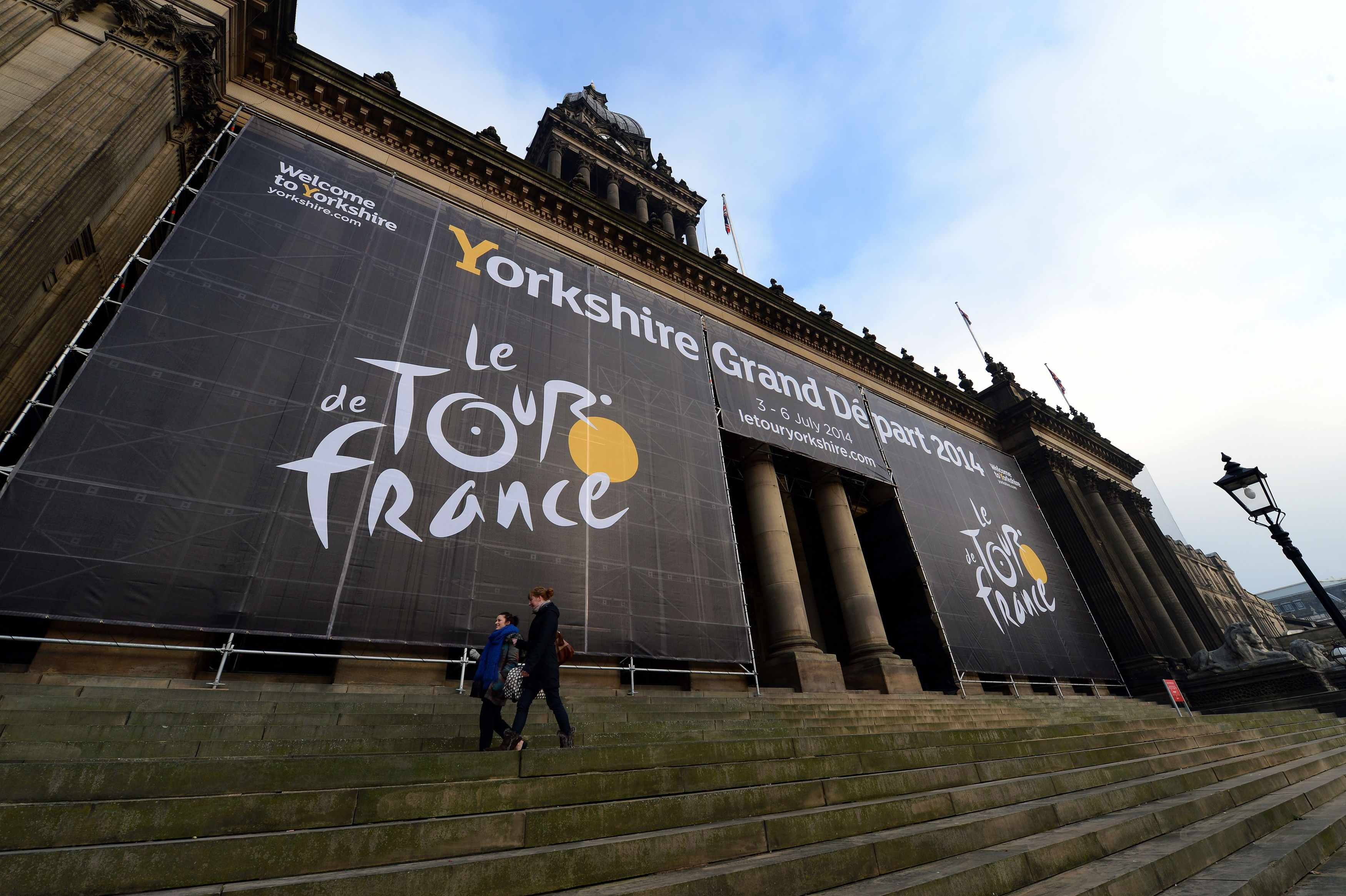 Preparation at Leeds Town Hall for the 2014 Tour route presentation