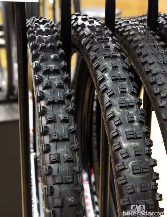 WTB's new Warden 2.3 tire (left) was designed for wet and sloppy conditions with super tall lugs spread across a relatively narrow casing to pierce into soft ground. The new Vigilante 2.3 (right) tread is more of an all-rounder with a denser, faster-rolling tread and lower knob heights to lessen squirm.