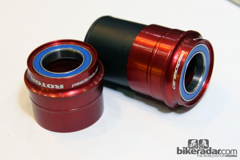 Danish bearing specialist CeramicSpeed is now outfitting Rotor's conversion bottom brackets with its own hyper-smooth hybrid ceramic cartridge bearings. A new option for MY2014 is this PF30-to-24mm converter