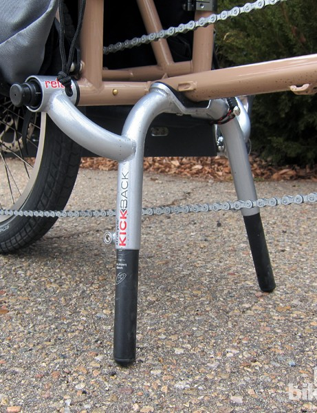 Our test bike included Xtracycle's meaty KickBack kickstand. Unfortunately, it's not included