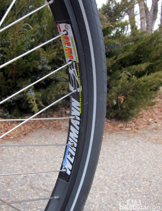 Broad Weinmann aluminum rims give good support to the fat tires. Plus, they should hold up better than narrow hoops under load