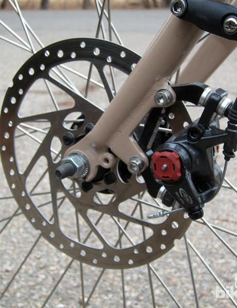 Avid BB7 mechanical disc brakes clamp down on stainless steel rotors