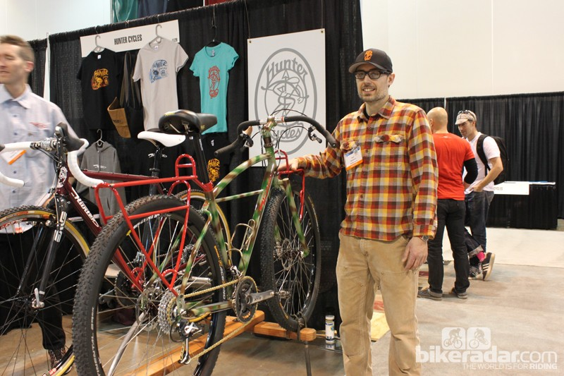 Nate Woodman at NAHBS 2013 with with his new Hunter Cycles adventure touring rig