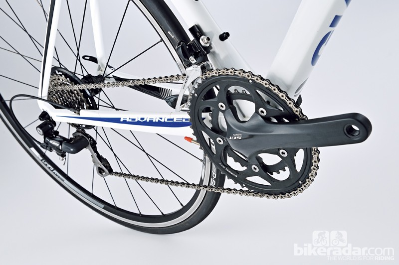Shimano's 105 compact matched to a 12-28T cassette is ideal all-rounder gearing