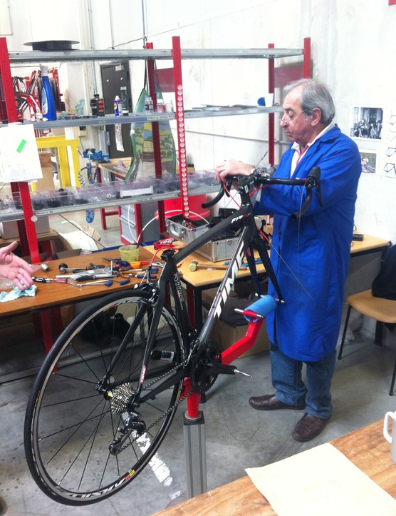 Complete bikes are assembled by hand from start to finish at a rate of about three per day